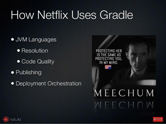 How Netflix Uses Gradle • JVM Languages • Resolution • Code Quality • Publishing • Deployment Orchestration