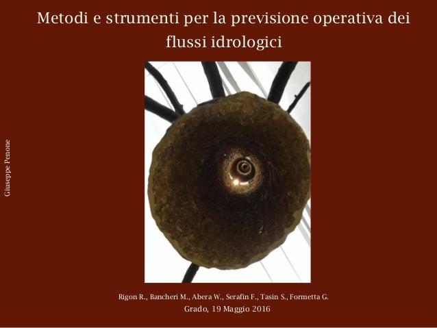 Metodi e strumenti per la previsione operativa dei flussi idrologici Rigon R., Bancheri M., Abera W., Serafin F., Tasin S....