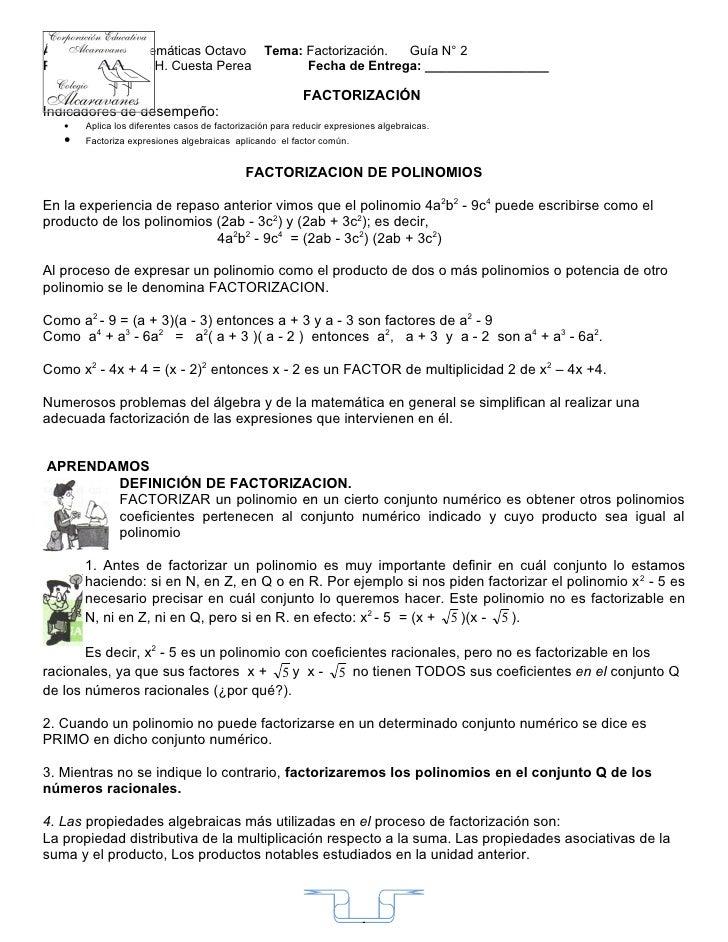 Grado 8. guia 2 factorizacion