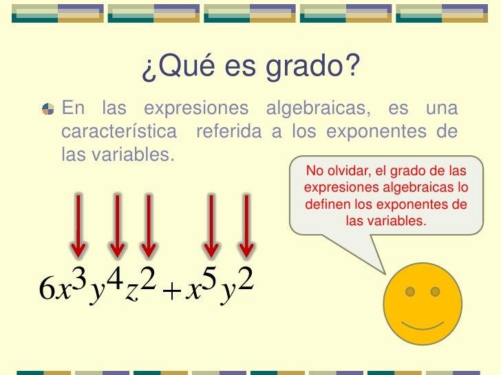 Grado de expresiones algebraicas Slide 2