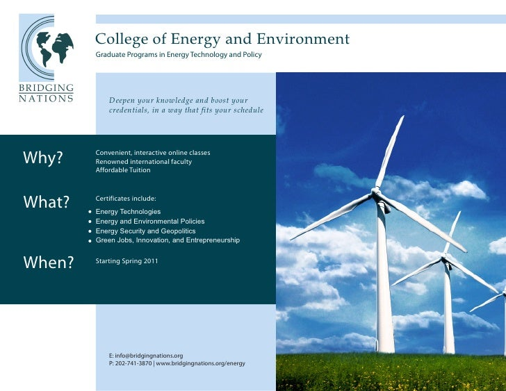 College of Energy and Environment         Graduate Programs in Energy Technology and Policy                 Deepen your kn...