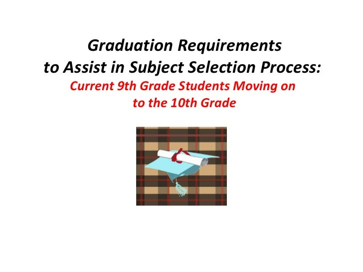 Graduation Requirements to Assist in Subject Selection Process:   Current 9th Grade Students Moving on  to the 10th Grade