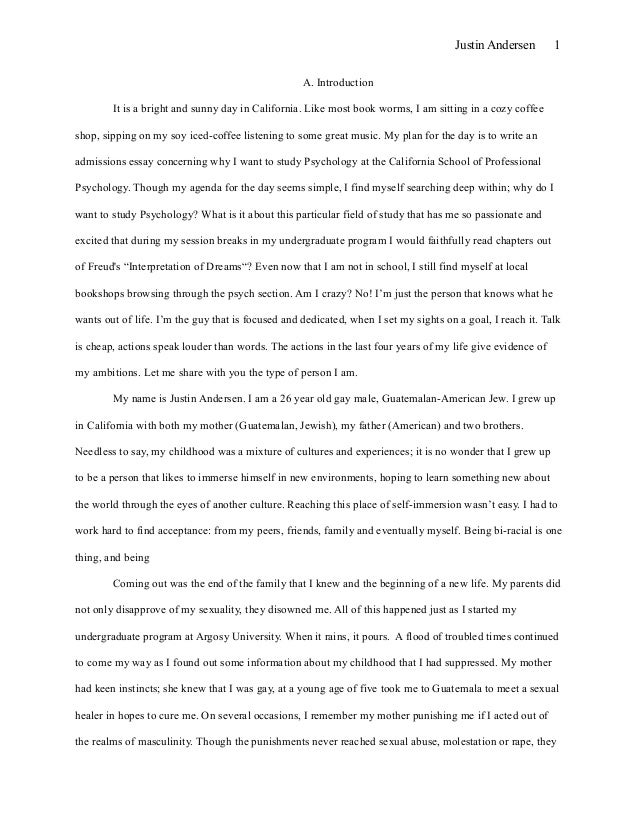 Essay for masters application