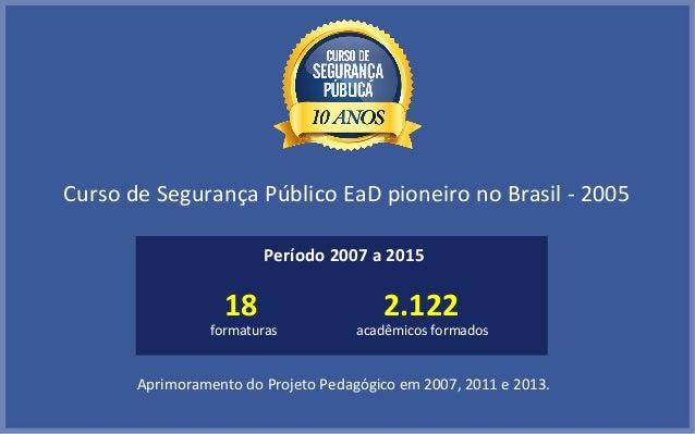 Curso de Segurança Público EaD pioneiro no Brasil - 2005 Aprimoramento do Projeto Pedagógico em 2007, 2011 e 2013. Período...