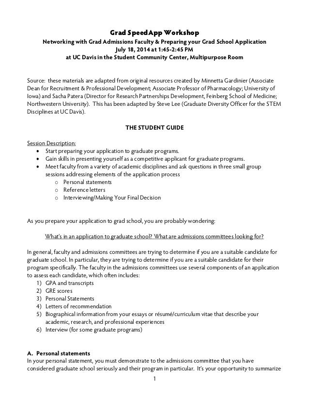 Grad School Application Workshop Slides And Handout