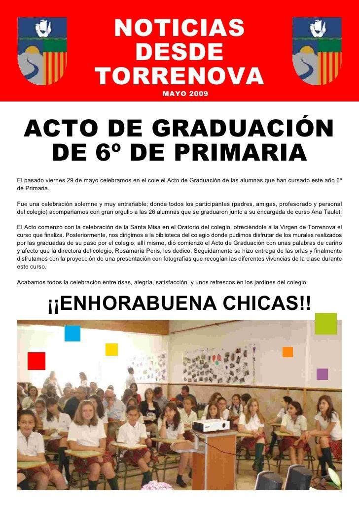 NOTICIAS                                 DESDE                               TORRENOVA                 MAYO 2009       ACT...