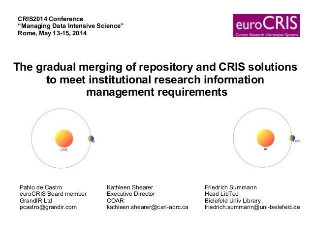 The gradual merging of repository and CRIS solutions to meet institutional research information management requirements Pa...