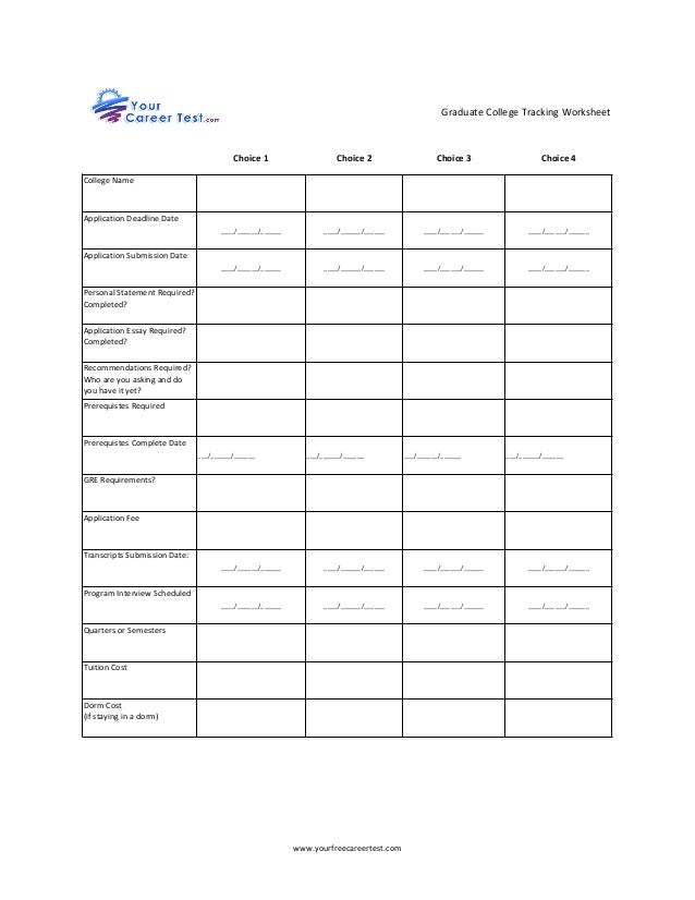 Printables College Cost Worksheet graduate college tracking worksheet www yourfreecareertest com choice 1 2 3 4 name application