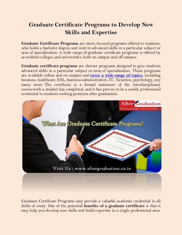 Graduate certificate programs to develop new skills and expertise