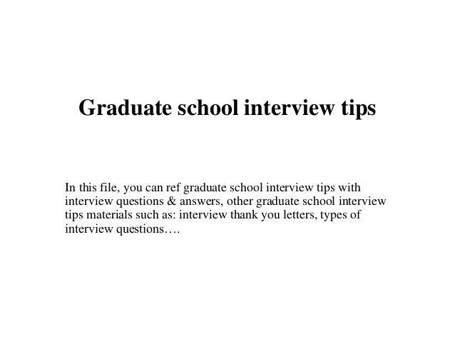 Graduate school interview tips