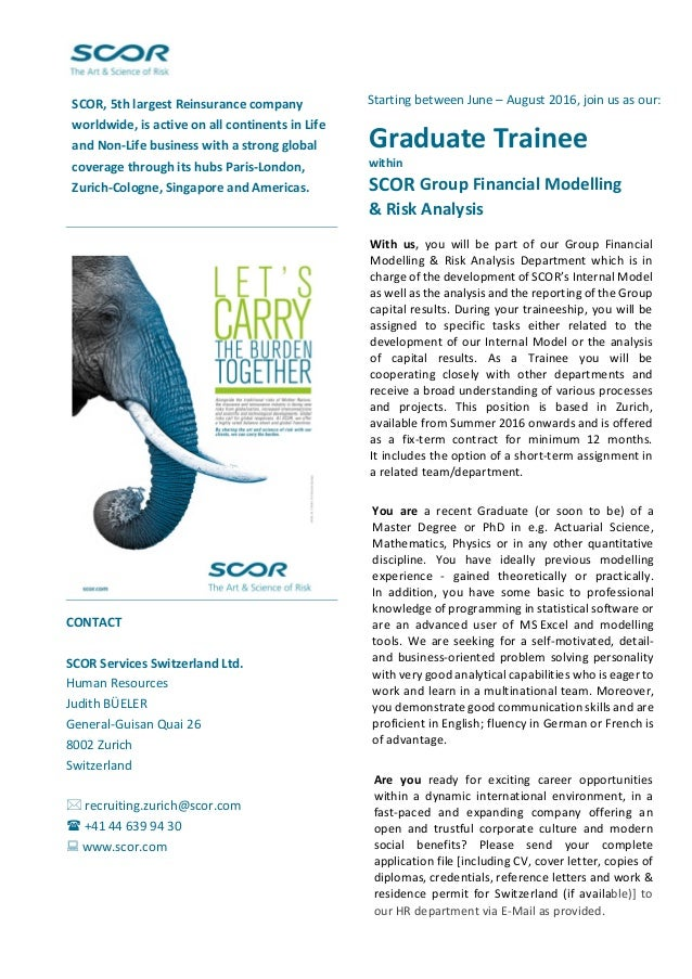Graduate Trainee within SCOR Group Financial Modelling ...