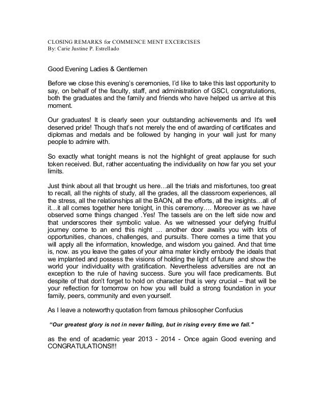 High school graduation speech examples sample graduation for Valedictorian speech template