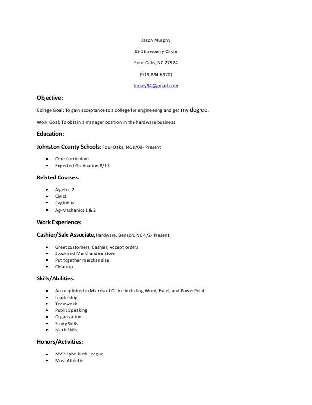 graduation project resume