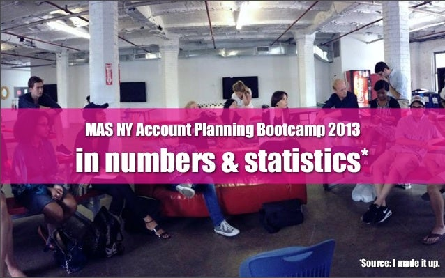 MAS NY Account Planning Bootcamp 2013 in numbers & statistics* *Source: I made it up.