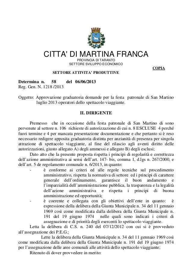 CITTA DI MARTINA FRANCAPROVINCIA DI TARANTOSETTORE SVILUPPO ECONOMICOCOPIASETTORE ATTIVITA' PRODUTTIVEDetermina n. 58 del ...
