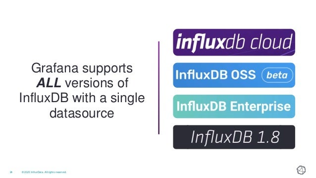 © 2020 InfluxData. All rights reserved.25 InfluxQL: SQL-like query language is familiar but has limits Flux: Functional pr...