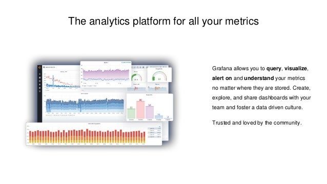 The analytics platform for all your metrics Grafana allows you to query, visualize, alert on and understand your metrics n...