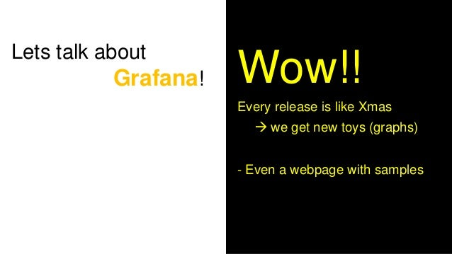 Lets talk about Grafana! 1 2 3 1. My logo = cool 2. Donut graph, yum 3. Dark mode: Helps you sleep at the desk! 4. LED gra...