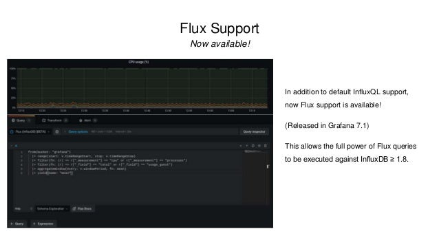 Flux Support Now available! In addition to default InfluxQL support, now Flux support is available! (Released in Grafana 7...