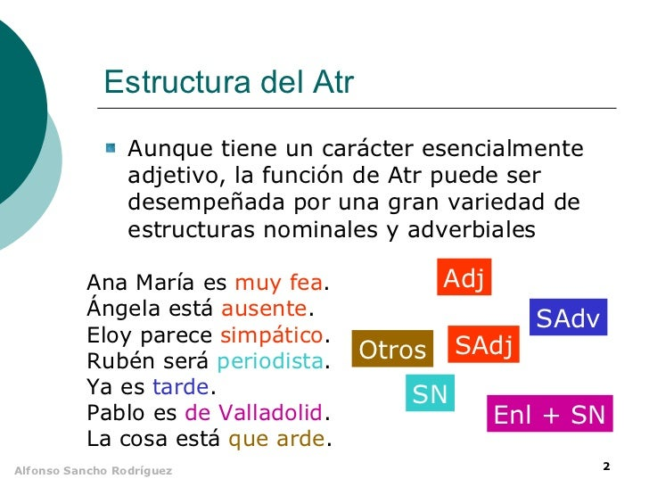 Estructura del Atr                 Aunque tiene un carácter esencialmente                 adjetivo, la función de Atr pued...