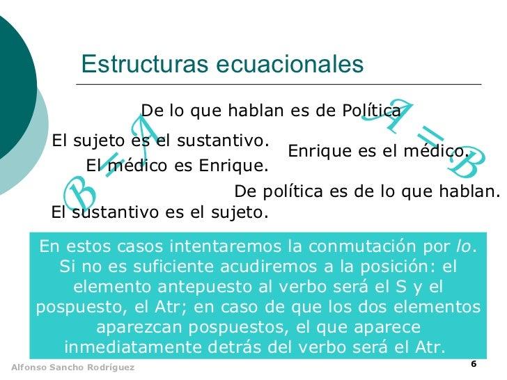 Estructuras ecuacionales                                                     A=                           De lo que hablan...