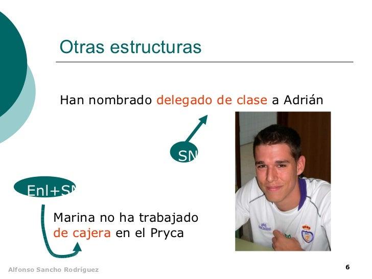 Otras estructuras             Han nombrado delegado de clase a Adrián                              SN    Enl+SN           ...