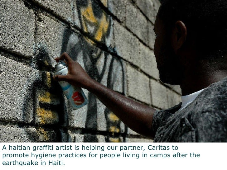 A haitian graffiti artist is helping our partner, Caritas to  promote hygiene practices for people living in camps after t...