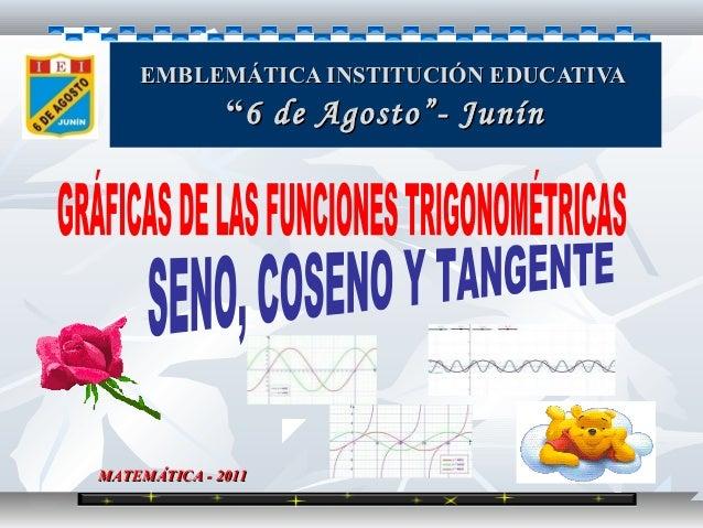 """EMBLEMÁTICA INSTITUCIÓN EDUCATIVA              """"6 de Agosto""""- JunínMATEMÁTICA - 2011"""