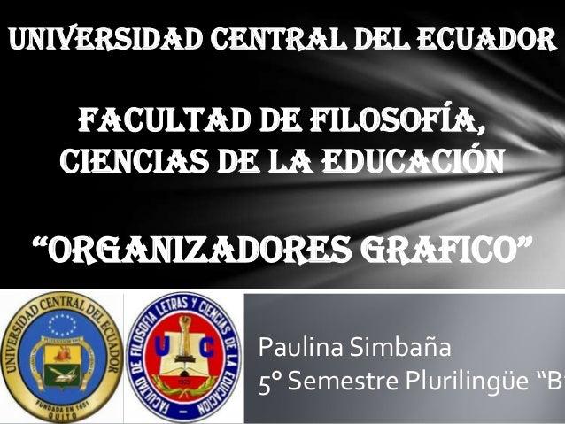 """UNIVERSIDAD CENTRAL DEL ECUADOR  FACULTAD DE FILOSOFÍA, Ciencias de la educación  """"OrganizadOres graficO""""  Paulina Simbaña..."""