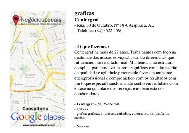graficas Centergraf - Rua: 30 de Outubro, Nº 1870Arapiraca, AL - Telefone: (82) 3522-1590 - O que fazemos: Centergraf há m...