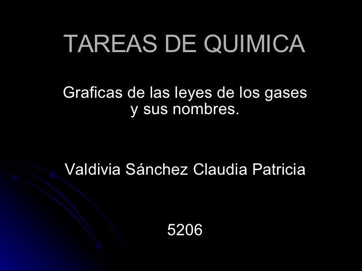 TAREAS DE QUIMICA Graficas de las leyes de los gases y sus nombres. Valdivia Sánchez Claudia Patricia 5206