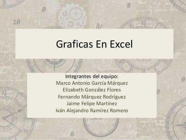 Graficas En Excel Integrantes del equipo: Marco Antonio García Márquez Elizabeth González Flores Fernando Márquez Rodrígue...
