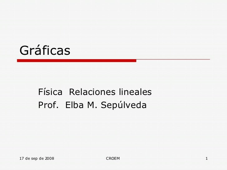 Gráficas Física  Relaciones lineales Prof.  Elba M. Sepúlveda