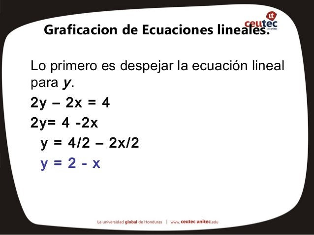Graficacion de Ecuaciones lineales.Lo primero es despejar la ecuación linealpara y .2y – 2x = 42y= 4 -2x y = 4/2 – 2x/2 y ...