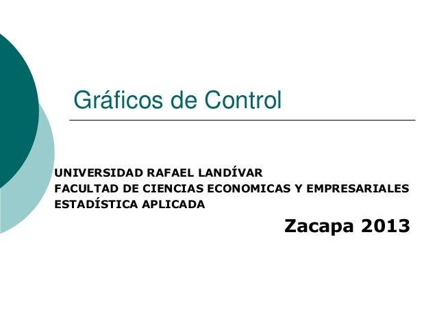 Gráficos de Control UNIVERSIDAD RAFAEL LANDÍVAR FACULTAD DE CIENCIAS ECONOMICAS Y EMPRESARIALES ESTADÍSTICA APLICADA Zacap...