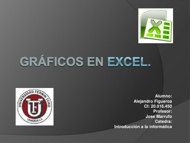 Gráficos en Excel.<br />Alumno: <br />Alejandro Figueroa<br />CI: 20.016.450<br />Profesor:<br />JoseMarrufo<br />Catedra:...