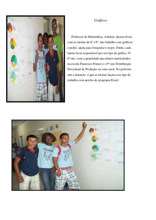 Gráficos  Professor de Matemática, Antônio, desenvolveu com as turmas de 6º e 9º ano trabalho com gráficos e pediu ajuda p...
