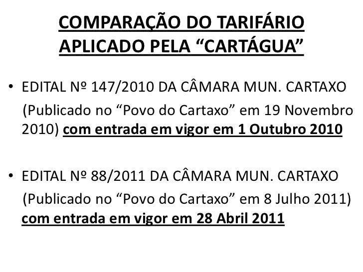 """COMPARAÇÃO DO TARIFÁRIO APLICADO PELA """"CARTÁGUA""""<br />EDITAL Nº 147/2010 DA CÂMARA MUN. CARTAXO<br />    (Publicado no """"Po..."""