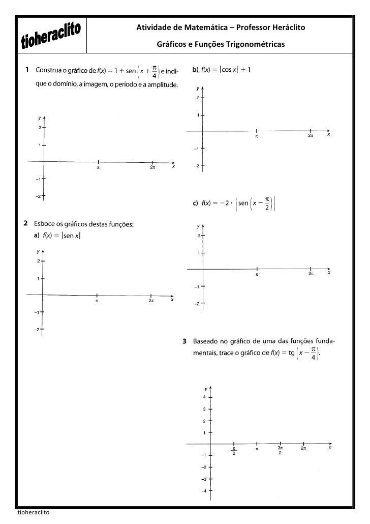 Atividade de Matemática – Professor Heráclito                    Gráficos e Funções Trigonométricastioheraclito