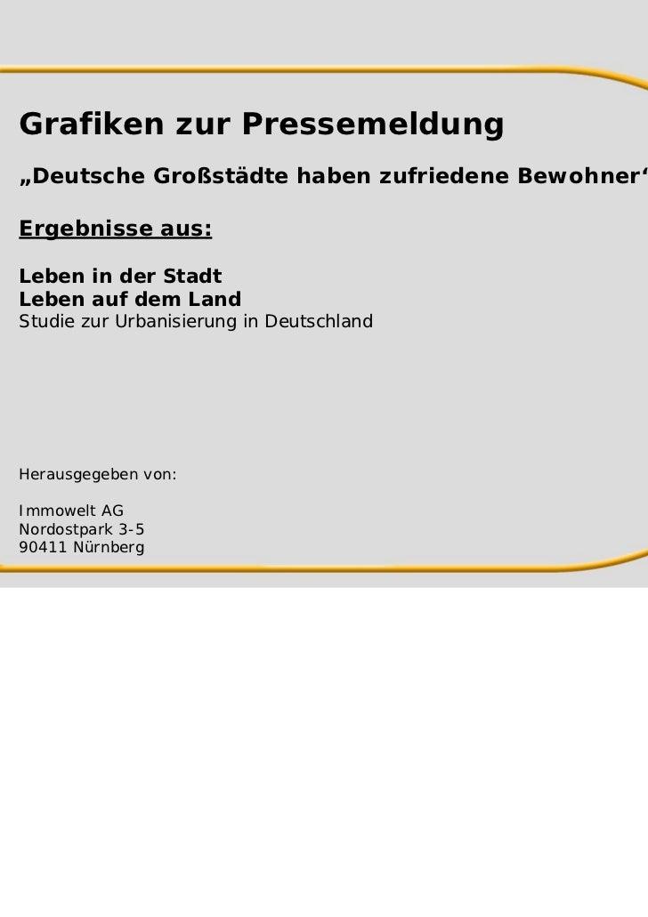 """Grafiken zur Pressemeldung""""Deutsche Großstädte haben zufriedene Bewohner""""Ergebnisse aus:Leben in der StadtLeben auf dem La..."""