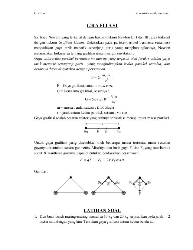 Grafitasi adiwarsito.wordpress.com GRAFITASI Sir Isaac Newton yang terkenal dengan hukum-hukum Newton I, II dan III, juga ...
