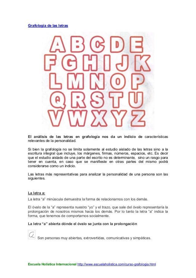 Grafología De Las Letras