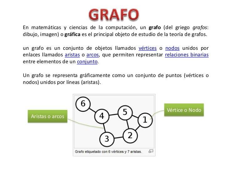 En matemáticas y ciencias de la computación, un grafo (del griego grafos:dibujo, imagen) o gráfica es el principal objeto ...