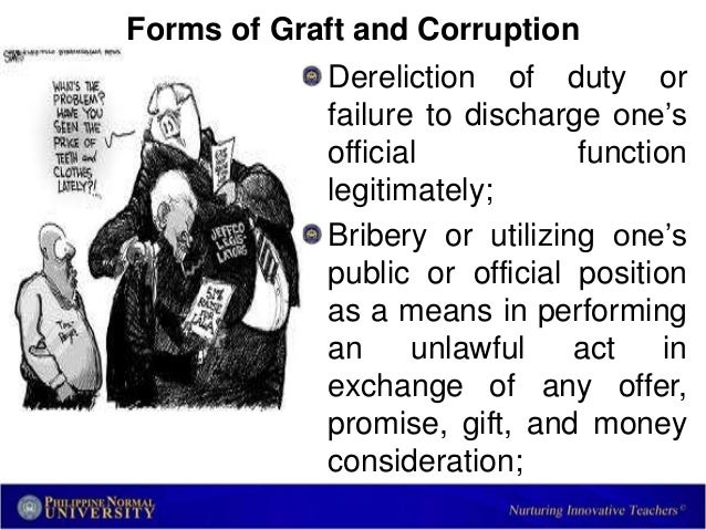graft and corruption Public corruption is the fbi's top criminal investigative priority, that includes border corruption, election crimes, international corruption and prison corruption.