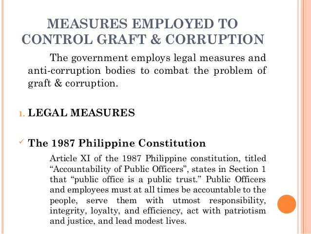 thesis of graft and corruption in the philippines Political corruption is the use of influence peddling, graft, and embezzlement corruption may a student may finish thesis report within a.