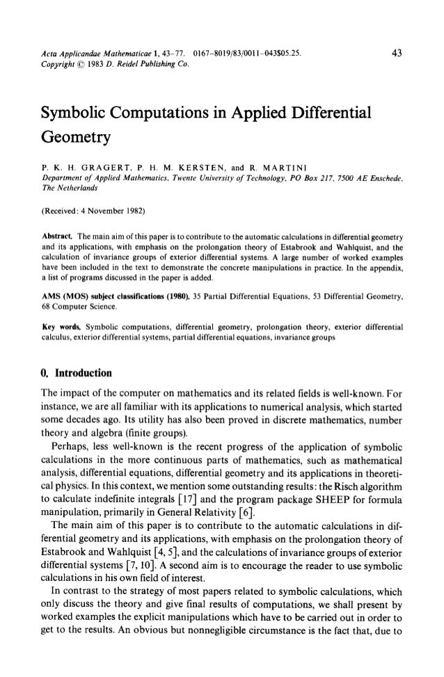 Symbolic Computation And Automated Reasoning In Differential Geometry