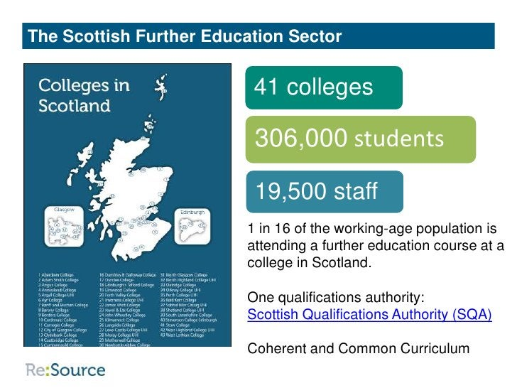 The Scottish Further Education Sector                          41 colleges                          306,000 students      ...