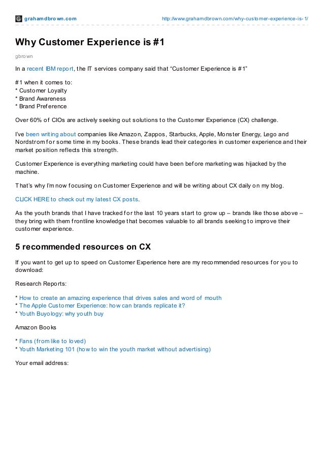 grahamdbrown.com http://www.grahamdbrown.com/why-customer-experience-is-1/ gbrown Why Customer Experience is #1 In a recen...