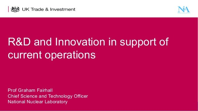 R&D and Innovation in support of current operations Prof Graham Fairhall Chief Science and Technology Officer National Nuc...