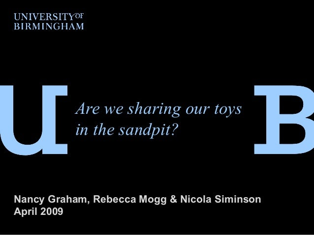 Are we sharing our toys in the sandpit? Nancy Graham, Rebecca Mogg & Nicola Siminson April 2009